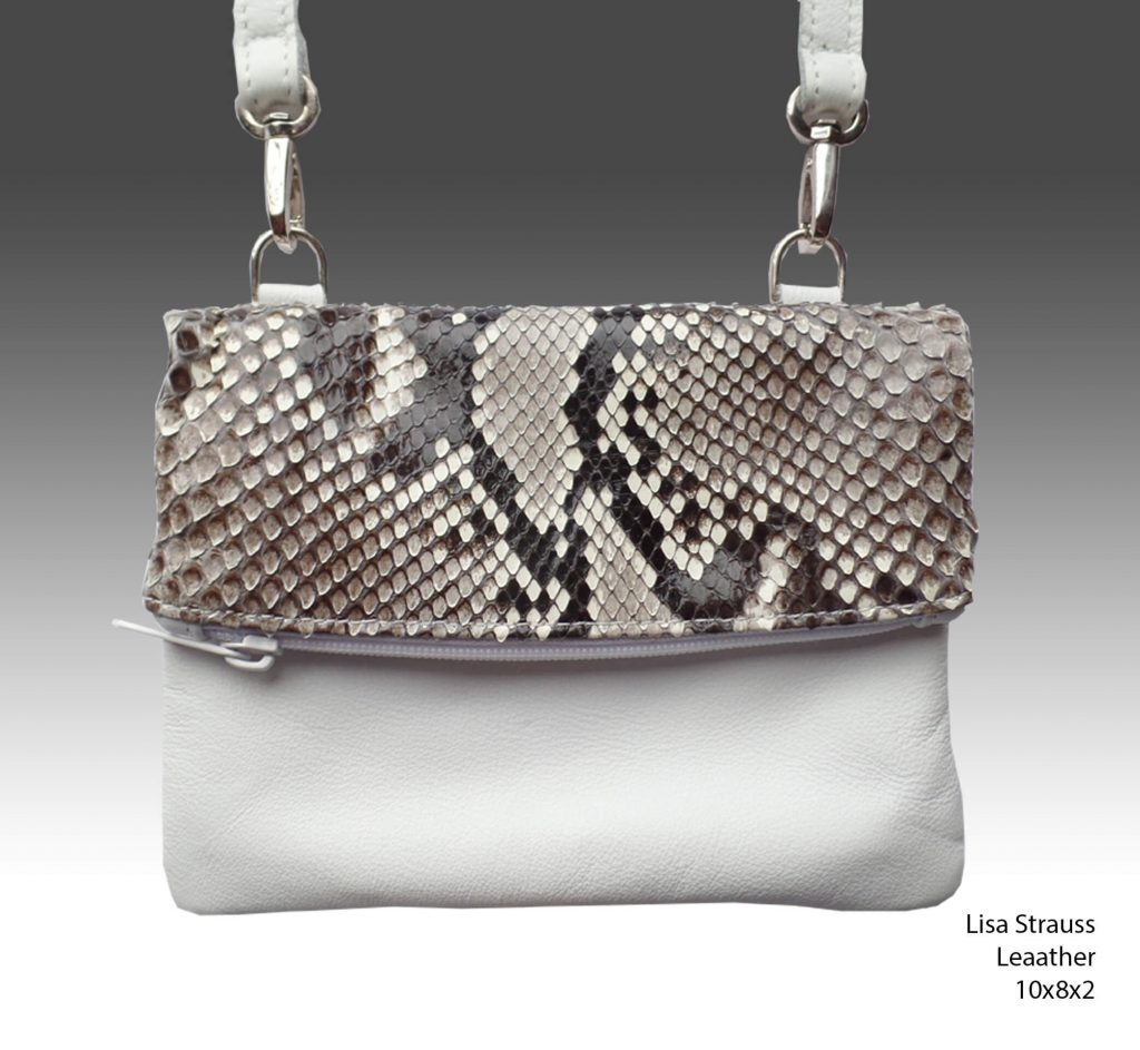 Col de Mar Sea Leather Accessories by Lisa Strauss, handcrafted leather handbag purse python