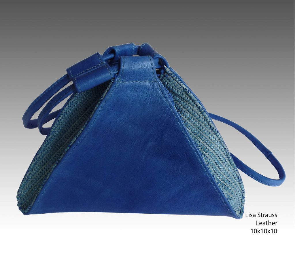 Col de Mar Sea Leather Accessories by Lisa Strauss, handcrafted leather handbag purse blue