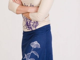 Taproot Threads: Echinacea Skirt: hand-drawn designs silk-screened onto USA-made or Fair Trade apparel