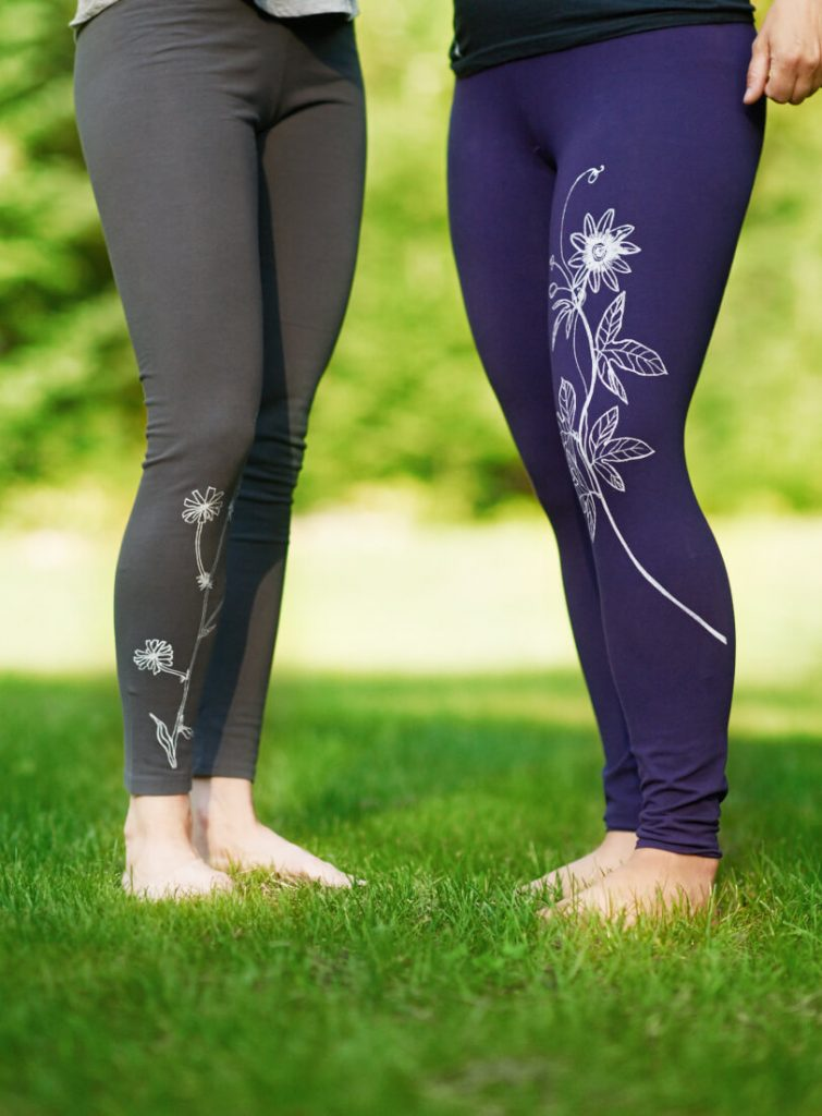 Taproot Threads: Leggings, hand-drawn designs silk-screened onto USA-made or Fair Trade apparel