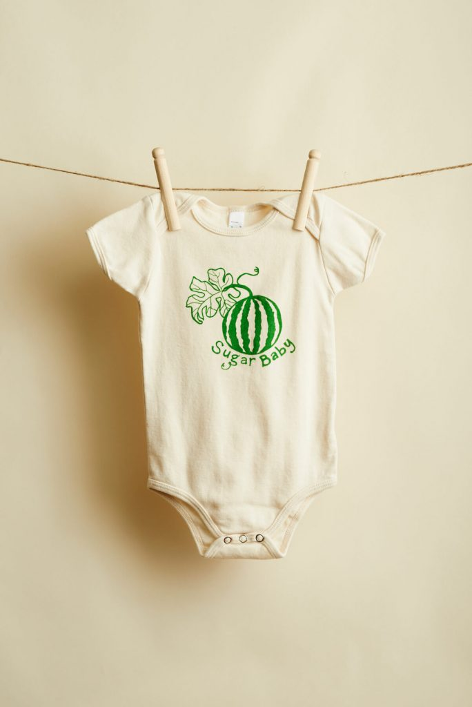 Taproot Threads: Sugar Baby Onesie, hand-drawn designs silk-screened onto USA-made or Fair Trade apparel