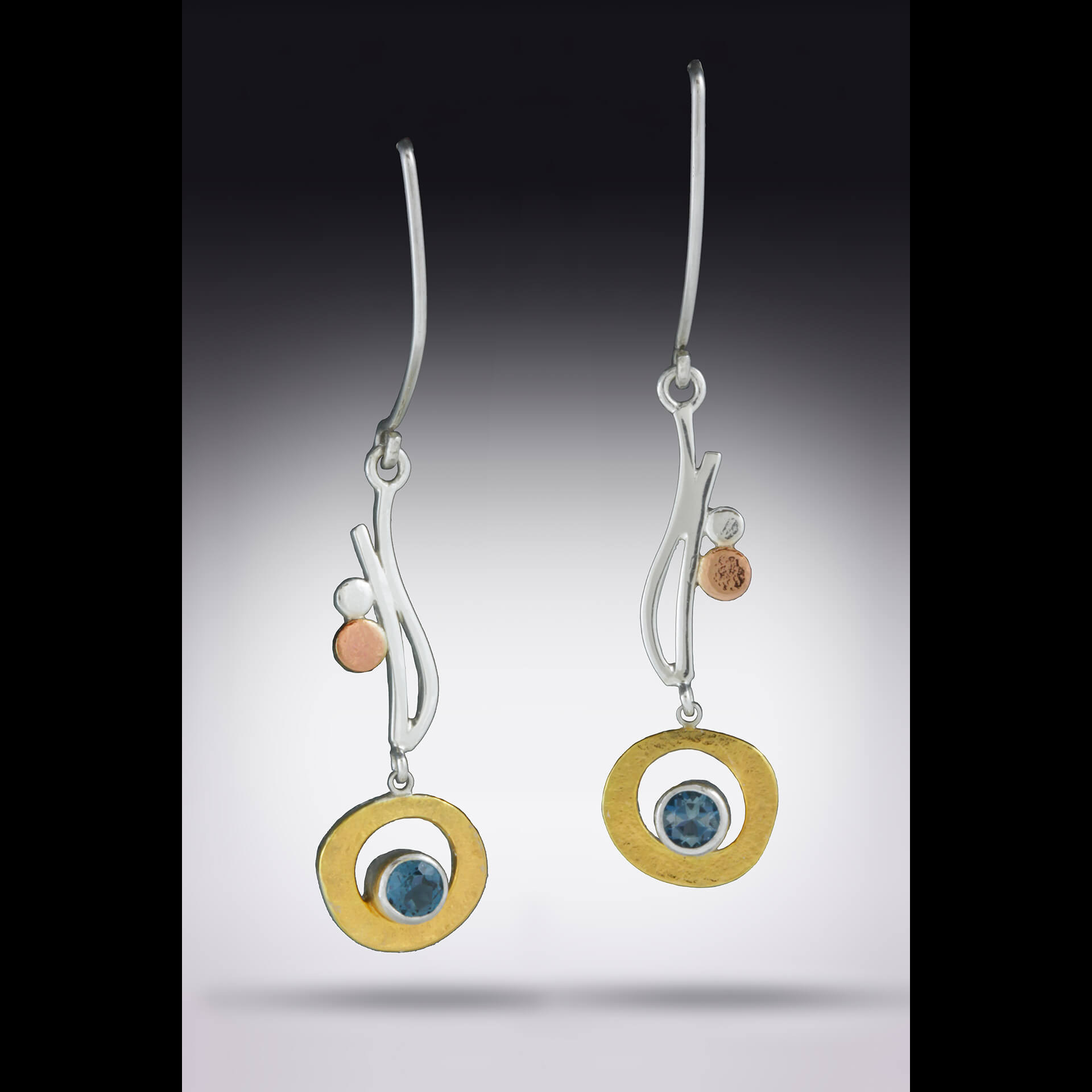 Terry Pool Design, Hand-fabricated jewelry with yellow gold, rose gold, sterling silver and gemstones, citrine, sapphire, blue topaz