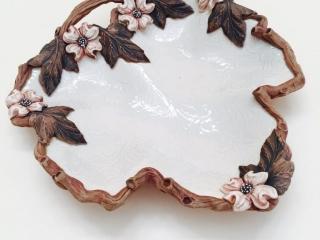 Susan Wechsler Designs: Porcelain Dogwood Spoon Rest/Cheese Plate, acorn, flowers