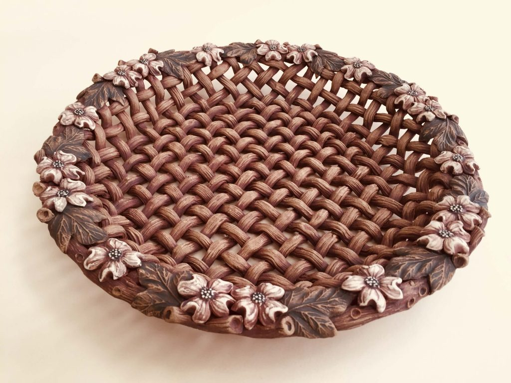Susan Wechsler Designs: Porcelain Dogwood Spoon Rest/Cheese Plate, woven basket, acorn, flowers, leaves