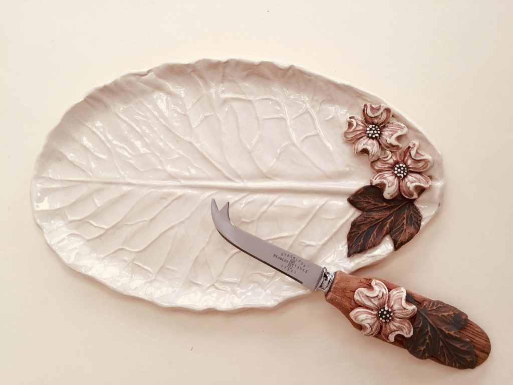 Susan Wechsler Designs: Porcelain Dogwood Spoon Rest/Cheese Plate