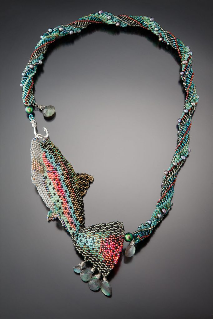 Karin Alisa Houben Jewelry: Rainbow Trout Necklace, beading, intricate beading, handcrafted jewelry, fish jewelry