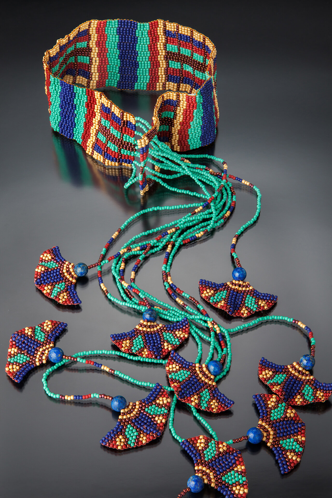 Karin Alisa Houben Jewelry: Lotus Scarf Necklace, beading, intricate beading, handcrafted jewelry, fish jewelry, Native American inspired