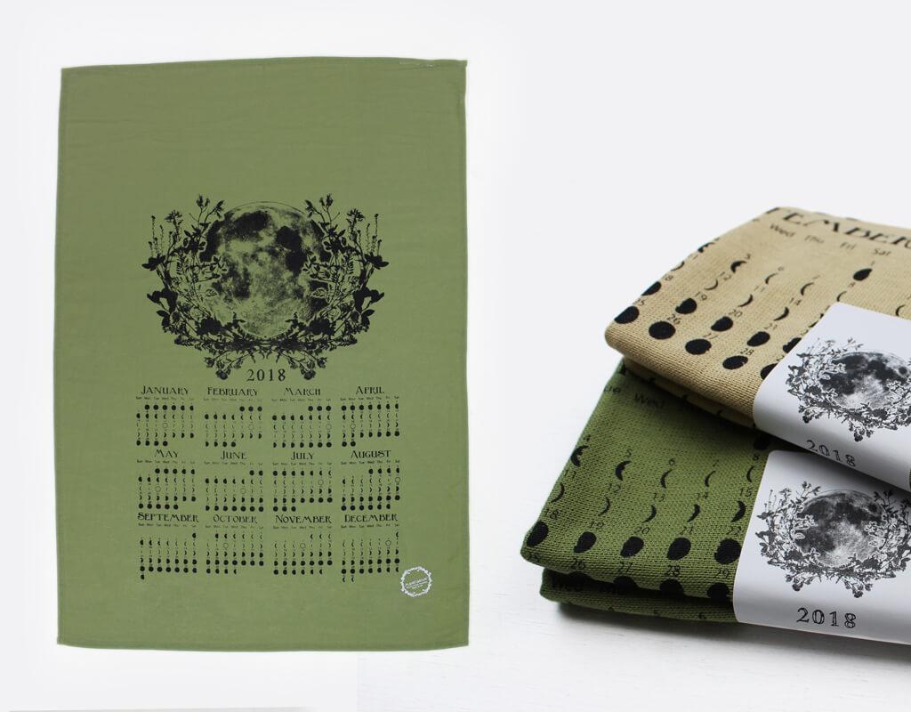 PLANETARIUM by Esther Yaloz: Moon Calendar Towel, moon art, handmade, screen printing, silk screen, botanical, planets