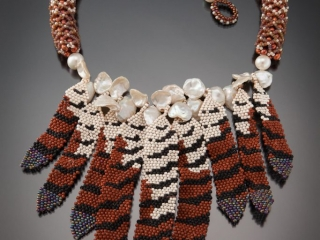 Karin Alisa Houben Jewelry: Hawk Feather Necklace, beading, intricate beading, handcrafted jewelry, feather jewelry, Native American inspired