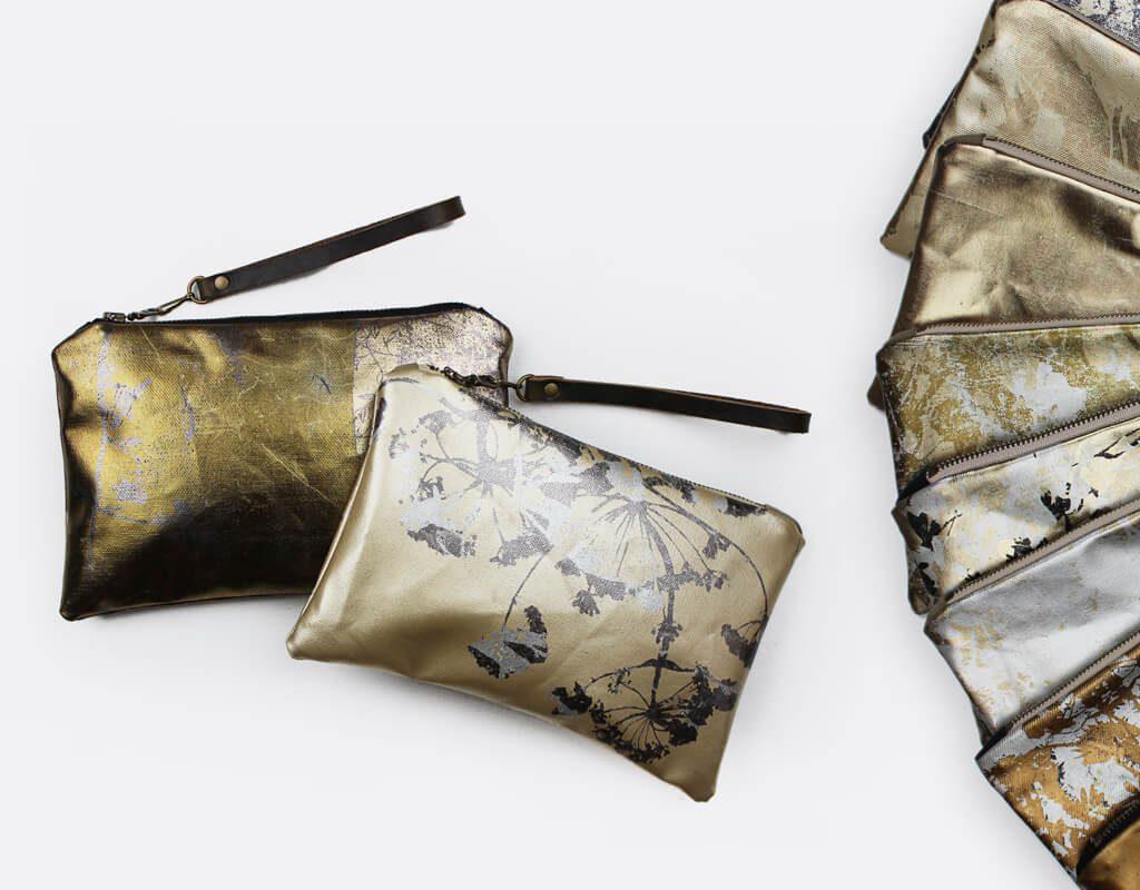 PLANETARIUM by Esther Yaloz: Foil Screen-Printed Bags, fiber art, botanicals