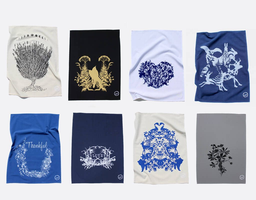 PLANETARIUM by Esther Yaloz: Screen-Printed Towels, botanical, fiber art, animals, handmade