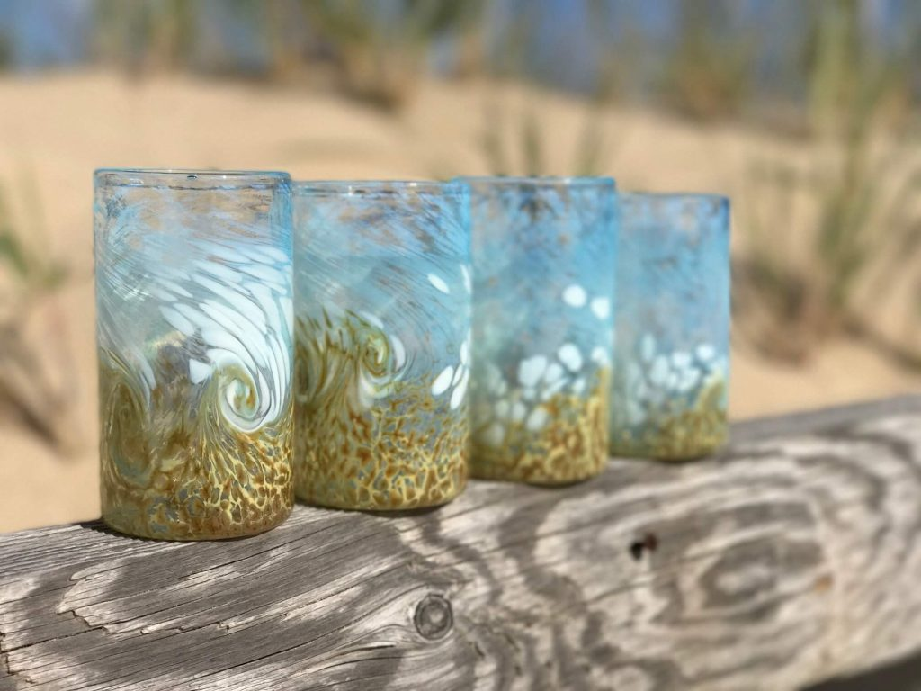 Catherine Ayers Glass: Beach Cups, glass blowing, blown beach cups, glass cups handmade, handmade glass pumpkins, blown glass