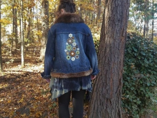 Designs by Agi, Agi Anderson, embellished, up cycled jean jacket, embroidery botanicals