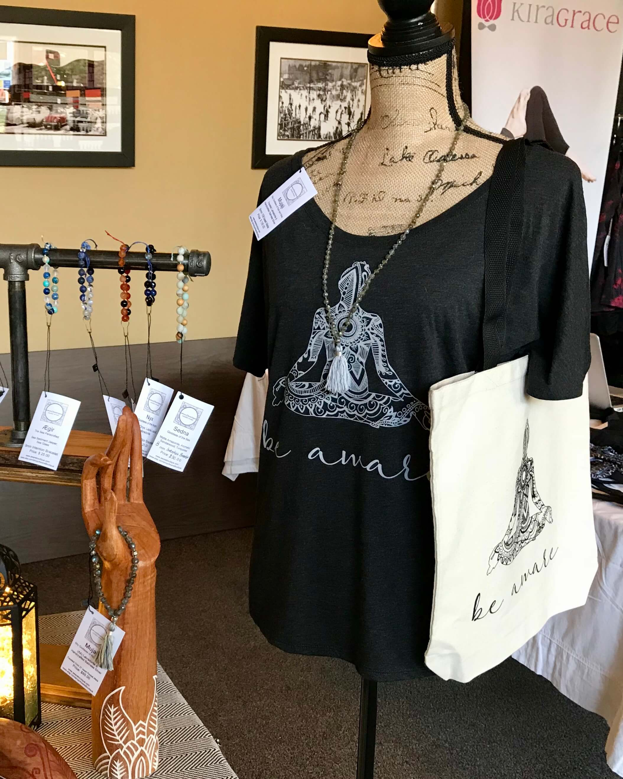Aware Boutique by Ania Parks: Sedna Mala, be aware hand drawn printed tee and tote bag