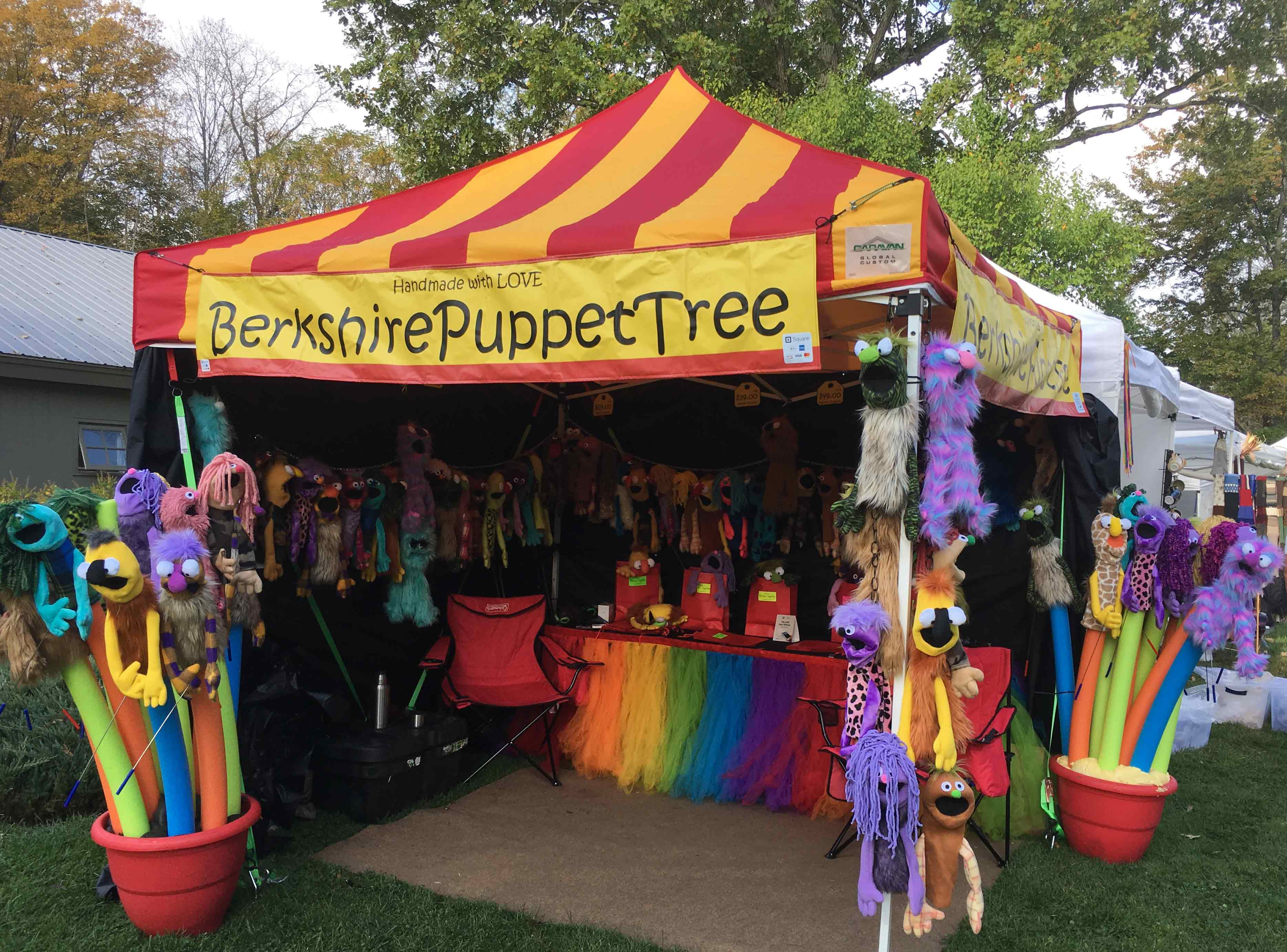 Berkshire Puppet Tree by Bruce Forster, handmade puppets