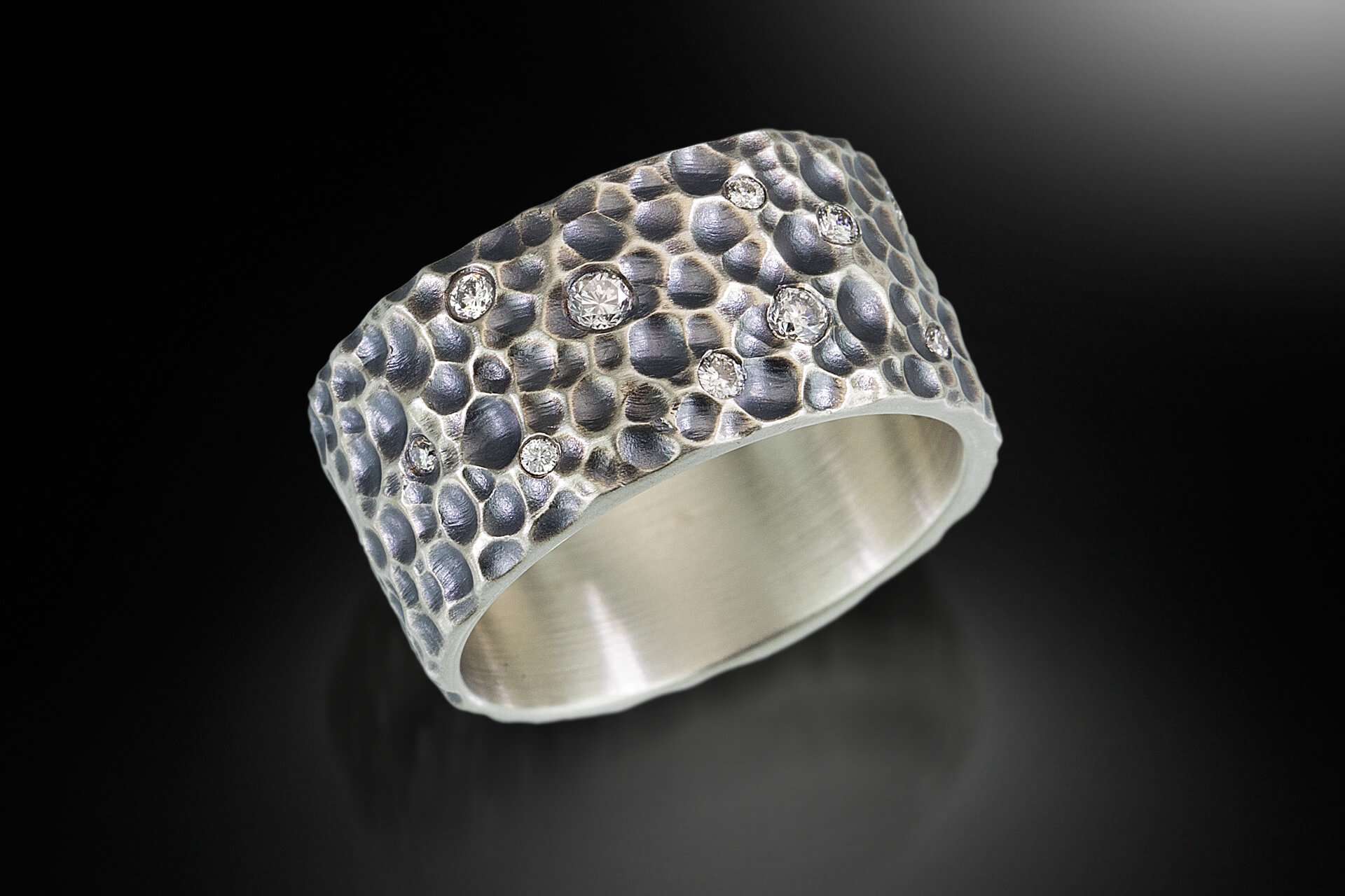 Isabelle Ecker Jewelry: Crater, handcrafted jewelry, wedding jewelry, wedding band, engagement, handcrafted, diamonds