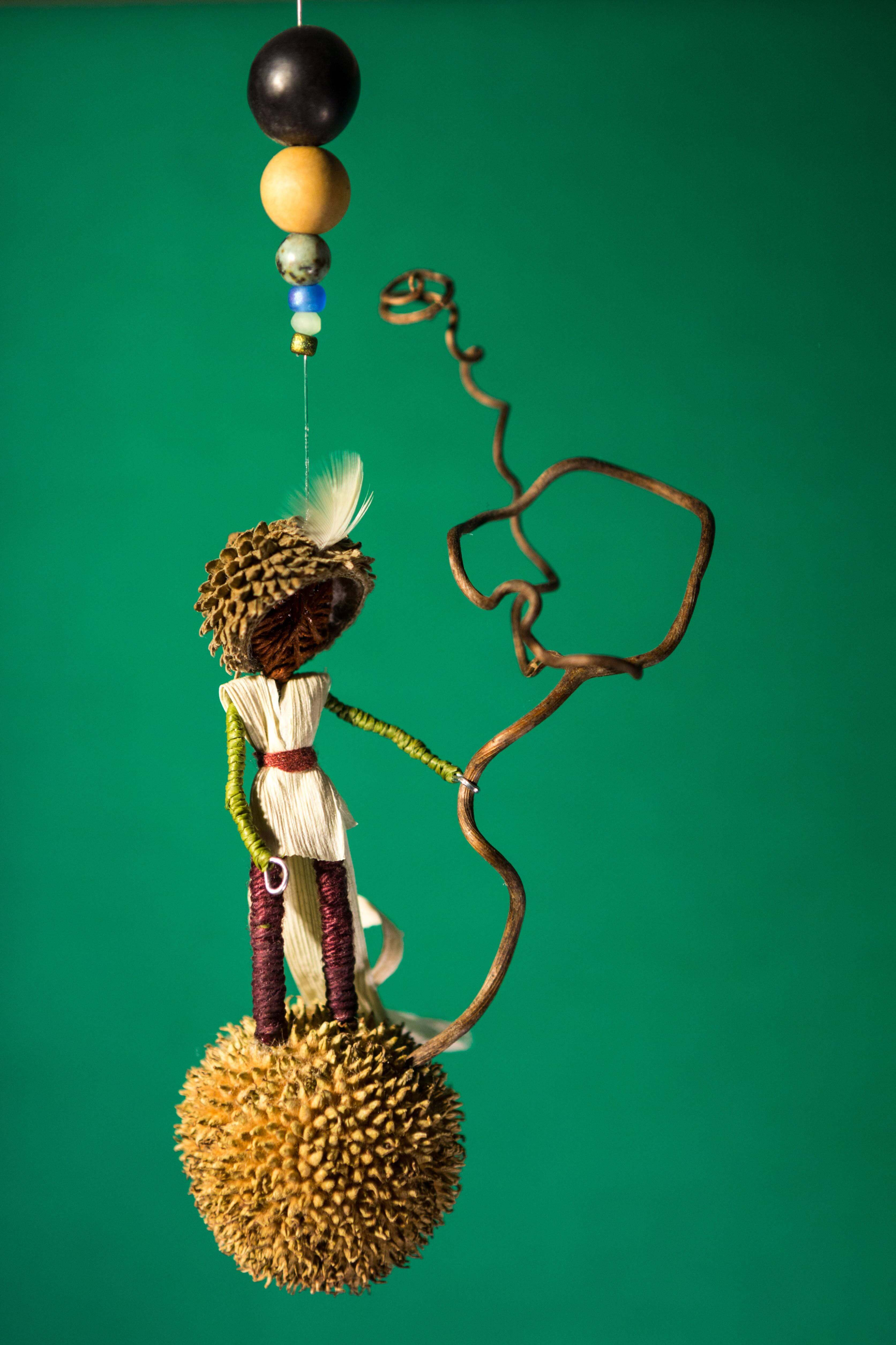 Silent Forest Mobiles by Eldad Arad: Swingin, mixed media mobile, natural found object mobile, nature art