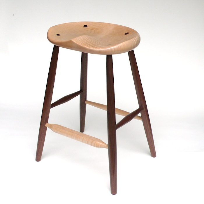 Gabor Ruzsan, GARNY & Co.: Counter Stool (Tiger Walnut), handmade furniture