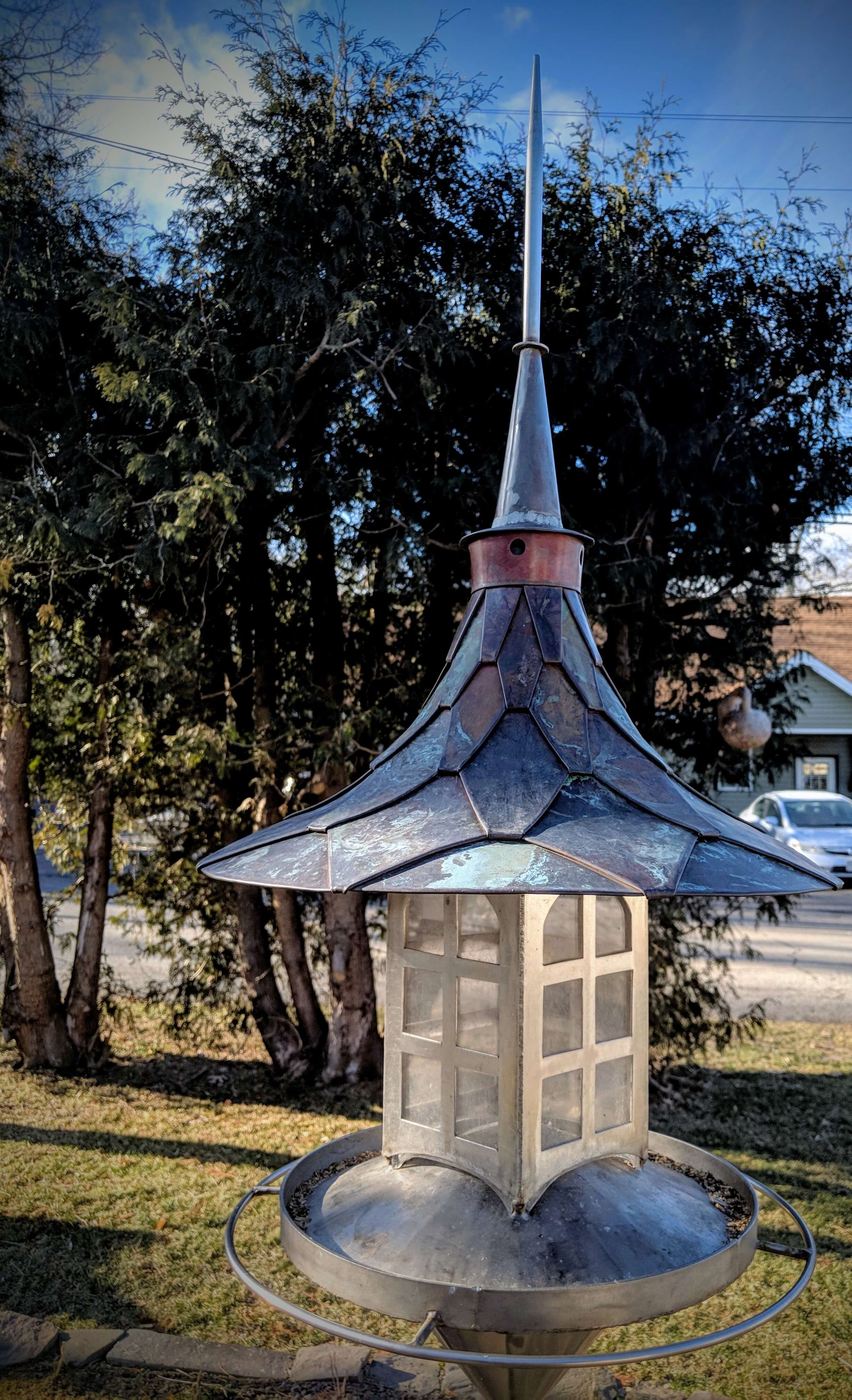 Iron Rose Gallery by John Mocioi: Birdhouse. handcrafted metal birdhouse