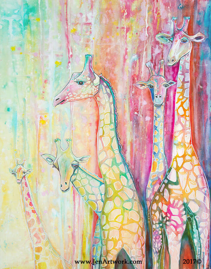 Jen Callahan, Jen Callahan Artwork: Giraffe Pack, animal painting, nursery, whimsical, light-hearted