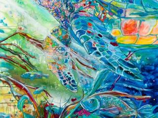 Jen Callahan, Jen Callahan Artwork: Turtle Journey, painting, sea turtle, ocean art