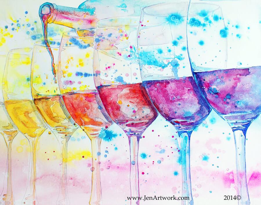 Jen Callahan, Jen Callahan Artwork, wine show, wine glass, painting