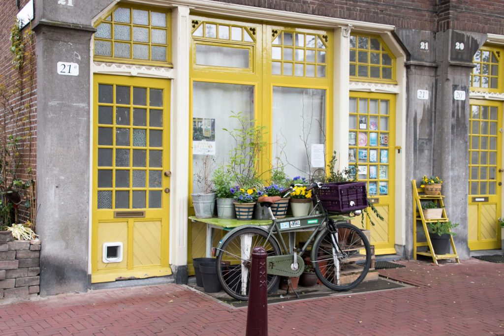 Mark Miller, Mark Miller Photography, European store front, bike, fine art photography, yellow color palette