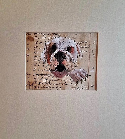 Marvis Weis, Marvin Wies Ledger Art, They are ink and guache paintings of animals on 200 year old ledger paper.