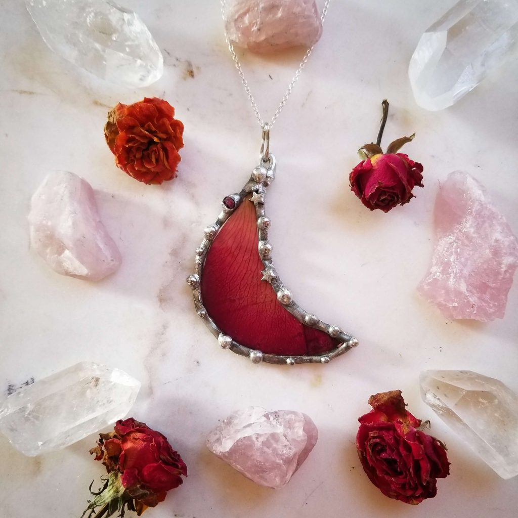 Myriad Mirage by Ginamarie Engels, handcrafted jewelry, rose petals, nature jewelry, pressed leaves, pressed flowers, dried flowers, dried leaves, jewelry