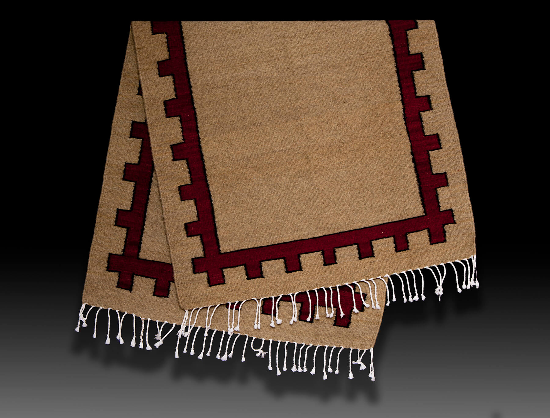 Mexican Weaver LLC: Jose Buenaventura Gonzalez: Tan-Red-trim-Jose--Gonzalez. Rugs are hand carded, hand-spun, dyed with plants and bugs, and woven on a traditional Mexican loom.
