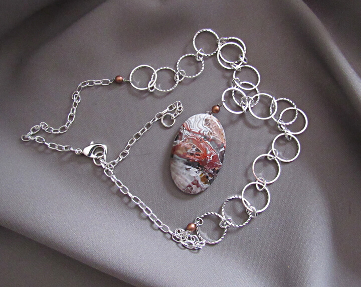Karen Tretiak: Crazy Lace Agate Necklace , handcrafted necklace