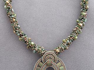 Karen Tretiak: Green Soutache Necklace, handcrafted necklace