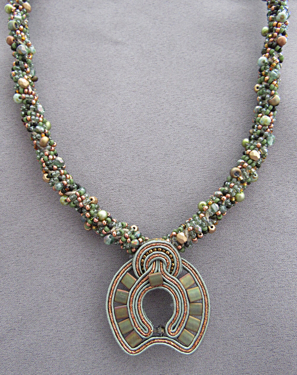 Karen Tretiak: Green Soutache Necklace, handcrafted necklace