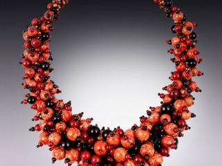 Karen Tretiak: Red Cranberry Necklace, handcrafted necklace