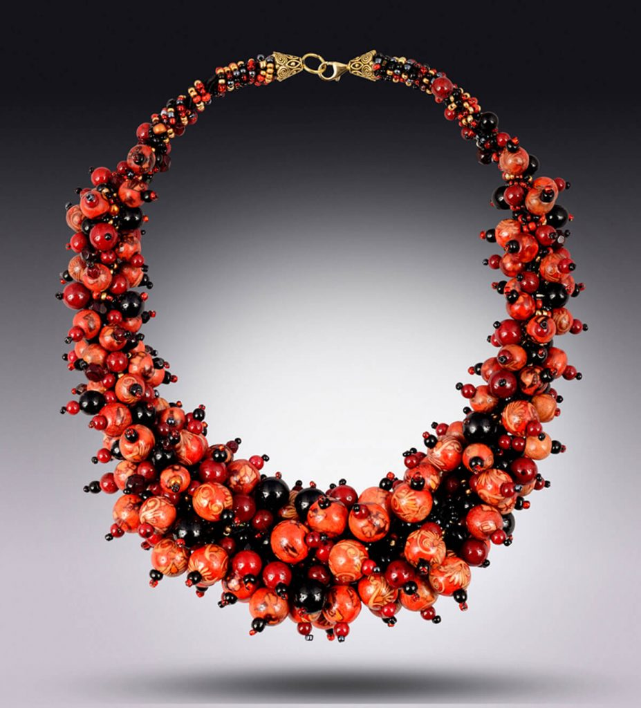Karen Tretiak: Red Cranberry Necklace, handcrafted necklace