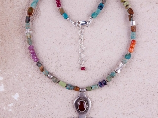 Riverstone Jewelry by Jill Scholsohn: Afghan Pendant, turquoise