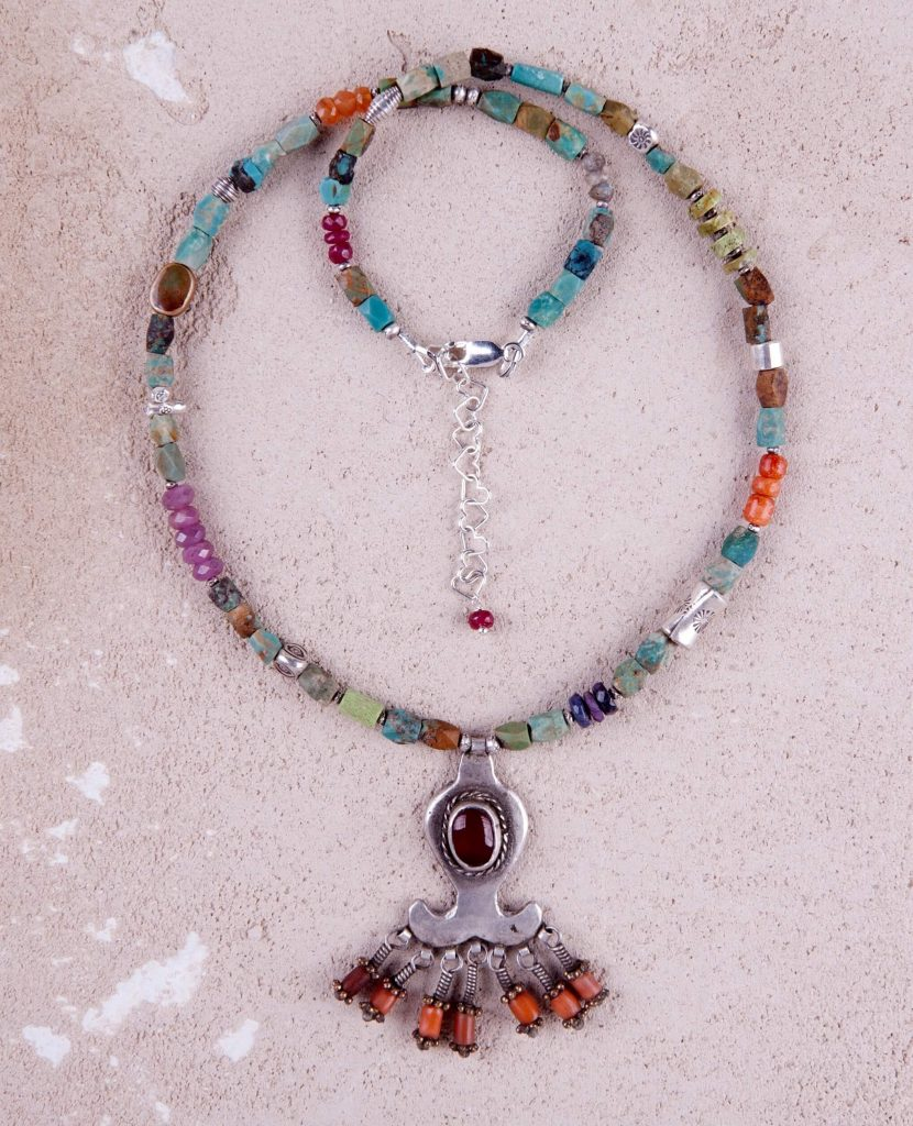 Riverstone Jewelry by Jill Scholsohn: Afghan Pendant, turquoise