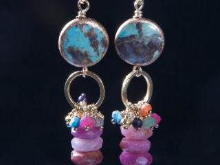 Riverstone Jewelry by Jill Scholsohn: Turquoise Ruby Dart Earrings