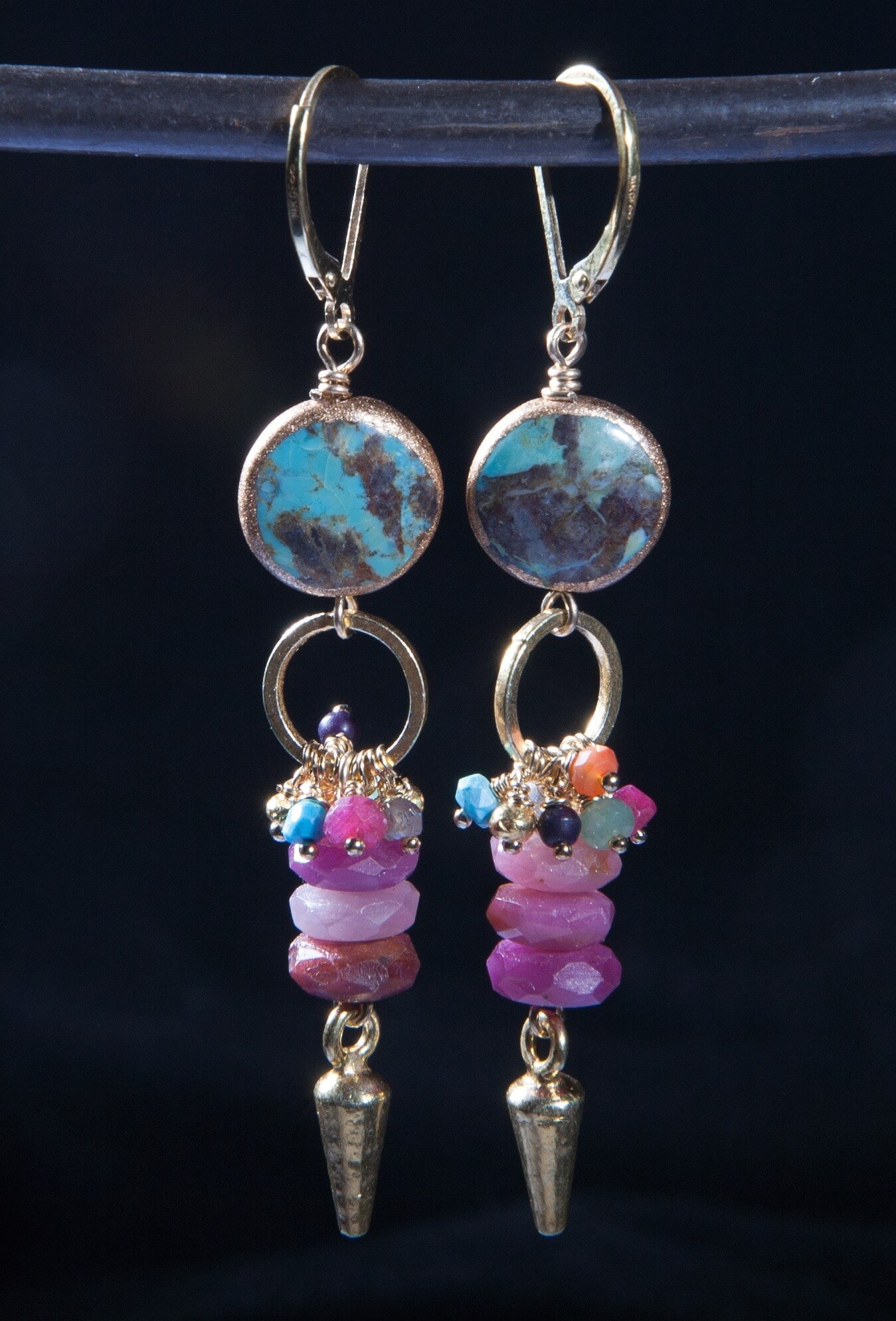 Riverstone Jewelry by Jill Scholsohn: Turquoise Ruby Dart Earrings