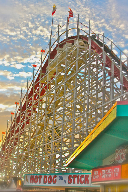 Gwen & Marty Wyenn: YN Photography - Reflections Gallery: Santa Cruz Roller Coaster, fine art photography, amusement park photography, summer decor