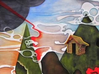 Amanda E Gross: House, mixed media painting, fine art