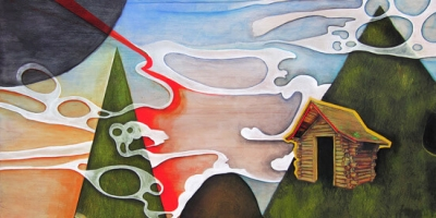 Amanda E Gross: House, mixed media painting, fine art