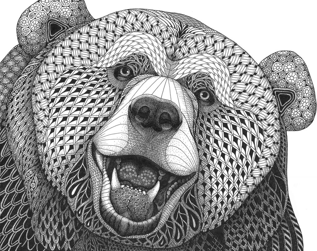 "MELANGE ""Seriously Fun Art"" by Kristin Moger: Grizzly Bear, zentagle, hand-drawn, drawing"