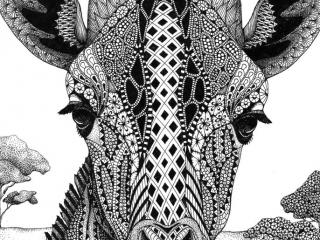 "MELANGE ""Seriously Fun Art"" by Kristin Moger: Serengeti Plains Giraffe, zentagle, hand-drawn, drawing"