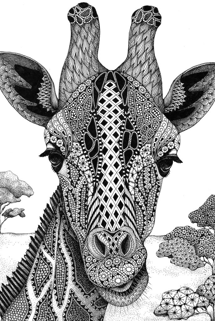 "MELANGE ""Seriously Fun Art"" by Kristin Moger: Serengeti Plains Giraffe, zentagle, hand-drawn, drawing"