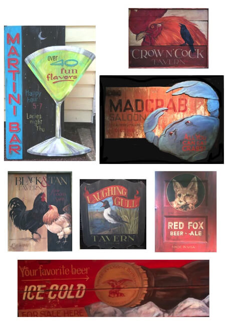 Handpainted signs, Terri Palmer Signs, Bar signs, handprinted, wall decor, wood signs, handmade bar signs,