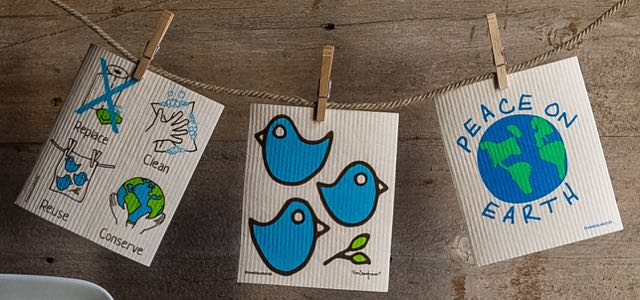 Three Bluebirds Swedish Dishcloths, handmade dishcloths, fiber art, handmade cleaning, reusable dishcloth