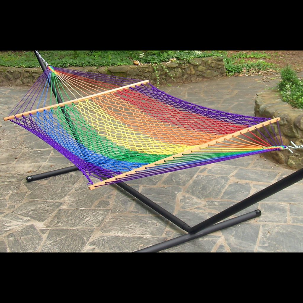 Twin Oaks Hammocks, rainbow hammock, handmade hammock, mixed media, demonstration