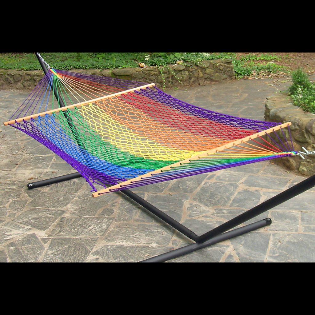 Twin Oaks Hammocks, rainbow hammock, handmade hammock, mixed media, demonstration
