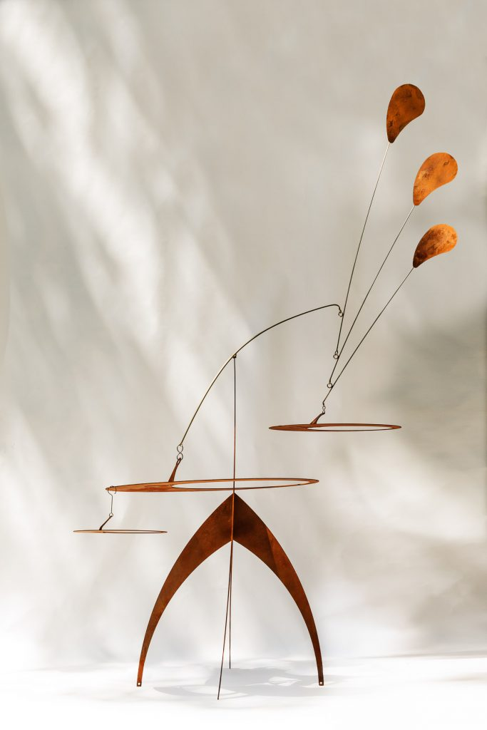 Woodstock Mobiles by Ursula Perry; mobiles and stabiles are made of copper, stainless steel and pre-rusted steel. Hand bent and hand balanced kinetic sculptures with no maintenance required and weather resistant.